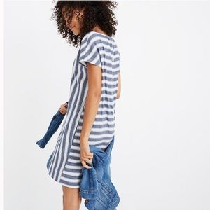 Madewell Blue & White Striped Play Button Dress